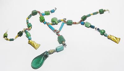 Zurqieh - Q61- Ancient Egypt. Strand Of Faience, Glass And Gold Amulets. 300 B.c