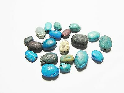 Zurqieh -Ancient Egypt - Lot Of 20 Scarab Beads - 1400 - 300 B.c
