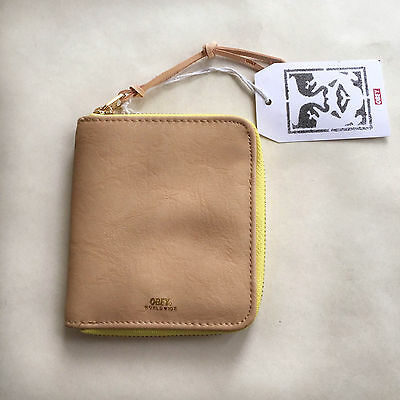 Obey Faux Leather Zip Around Wallet Gentry Tan NWT Shepard Fairey