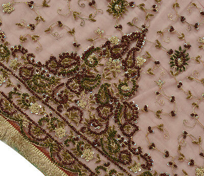 Vintage Dupatta Indian Bridal Heavy Long Stole Hand Beaded Embroidered Net Viel