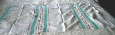 3 Vintage white linen green stripe kitchen towels