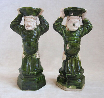 PAIR OF CHINESE ATTENDANT FIGURE CANDLE HOLDERS, Ming Dynasty, c. 1368-1644 A.D.