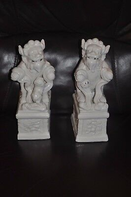 "Pair Of Beautiful White Porcelain  Collectible Chinese Foo Dogs 11.5"" Tall"