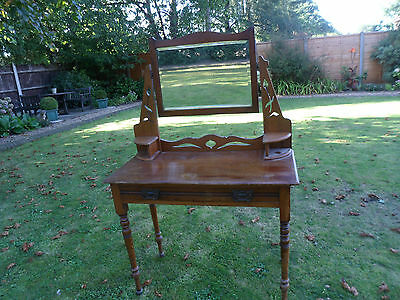 Victorian Dressing Table With Turned Legs, Mirror and a Drawer Potential UpCycle