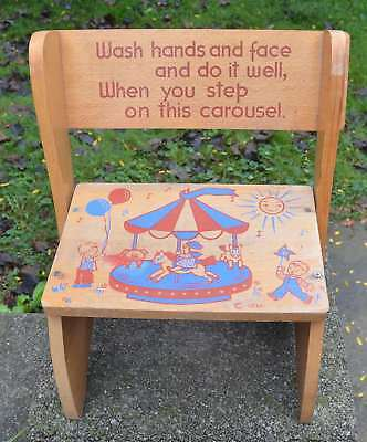 Vintage IRMI Childrens Convertible Wooden CHAIR & STEPS Booster Carousel Design