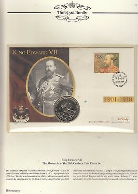 KING EDWARD VII ,MONARCHS OF  THE 20th CENTURY GIBRALTAR CROWN COIN, I O M COVER