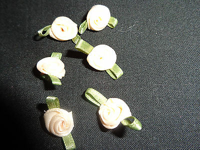Champagne Satin Ribbon Rose Flowers x 15