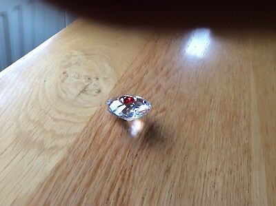 swarovski  chunky crystal heart with red heart centre