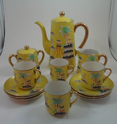 Vintage Moriage tea set yellow with moriage palm trees and temples