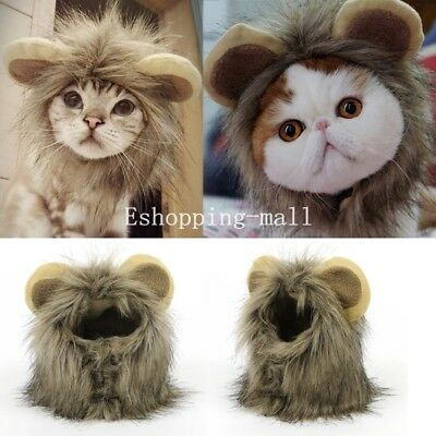 Pet Dog Cat Costume Lion Mane Wig Hair with Ear Halloween Clothes Fancy Dress Up
