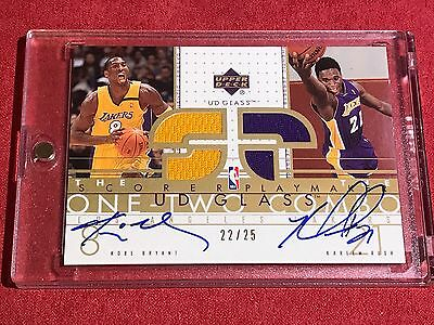 KOBE BRYANT KAREEM RUSH 2002-03 UD GLASS One Two Combo 22/25 AUTOGRAPH RARE AUTO