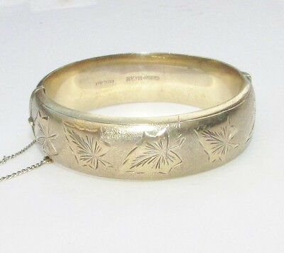 Vintage sterling silver gold-plated bangle bracelet Birmingham 1967