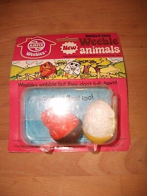 Vintage Airfix Animal Weebles Figures MOC ~ Danny & Lucy