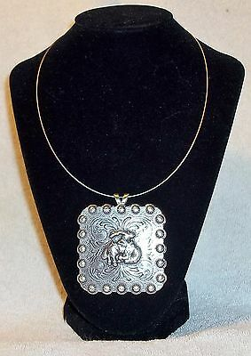 """Necklace Western Cowgirl Choker Chunky Pendant Concho OS Bronc Rider squ 2-3/8"""""""