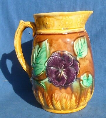 Vintage Pansy Decorated Majolica Jug