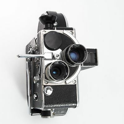 Bolex H 8 8mm Movie Camera H8 w Case, 25mm Switar and 16mm YVAR Lenses, Trifocal