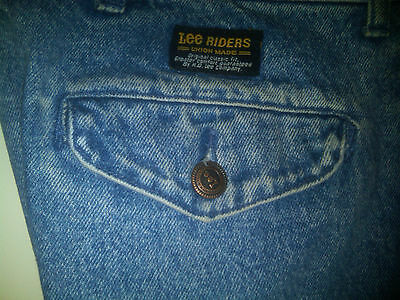 VTG LEE RIDERS JEANS - UNION MADE HIGH WAISTED PLEATED  60's 70's - 30 31 W 29 L