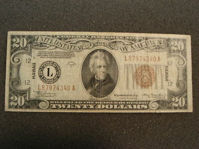 1934 A $20 HAWAII World War II Emergency Issue Federal Reserve Note Brown Seal