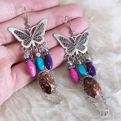 Vintage Fashion Womens Antique Metal Butterfly Chains Beads Dangle Hook Earrings