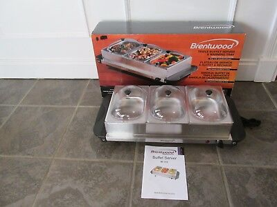 Brentwood Triple Buffet Server & Warming Tray Brand New