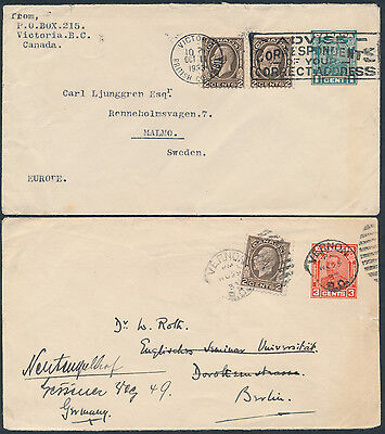 1933 Two Arch Issue PSEs, Uprated with #196 2c Medallions to Sweden and Germany