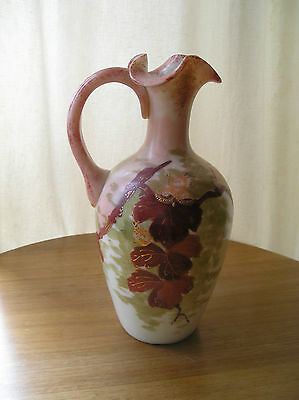 Antique Individual Hand Blown Opaline Glass Pitcher Jug Pink/Red