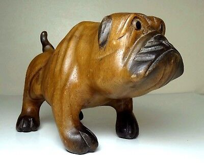 "Vintage Solid American Chestnut-Wood 8"" x 5"" Carved Bulldog Figure"