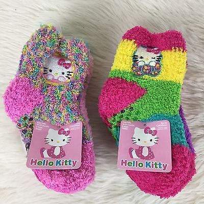 New Hello Kitty Socks 6 Pairs Kids Sz 18-24 Months Fuzzy Non Slip Multicolor
