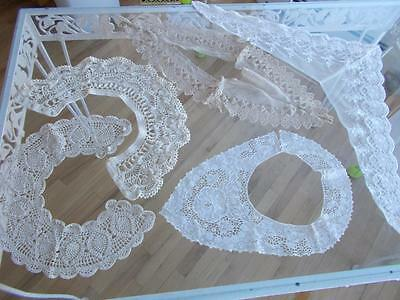 5 vintage COLLARS crochet LACE fabric sewing yoke antique mixed lot net chiffon