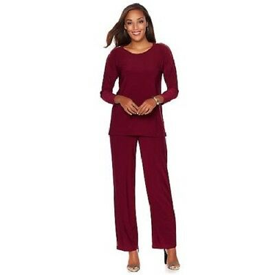 Nwt Womens Antthony 2Pc Zipper Sleeve Top W/matching Pant Sets Pant Suits