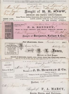 oldhal-Hartford, Ct-Lot of 5 invoices from 1872-73