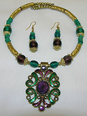 Indian Necklace with Earrings Ear Hangers Shades Green Brown Purple Gold Chain