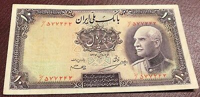 Iran Persia P33 Reza Shah Pahlavi 10 Rials 1938 blue date stamp 1319 on back XF+
