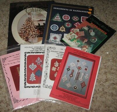 LOT OF 4 HARDANGER HOLIDAY ORNAMENTS&ANGEL BOOKLETS by HANKY PANKY DESIGNS