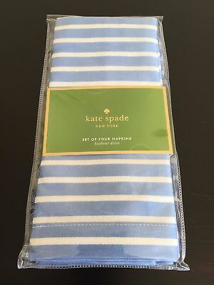 4pc KATE SPADE Harbour Drive Striped Dinner Napkins CORNFLOWER WHITE Spring NWT