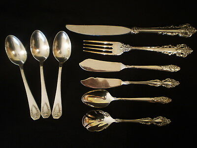 Mixed Lot Silverplate Flatware Teaspoon Fork Butter Knives Rogers Community +