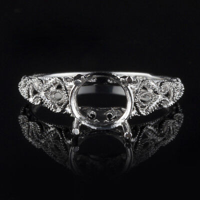 Solid 10K White Gold Vintage Antique 8mm Round FILIGREE SEMI MOUNT RING SETTING