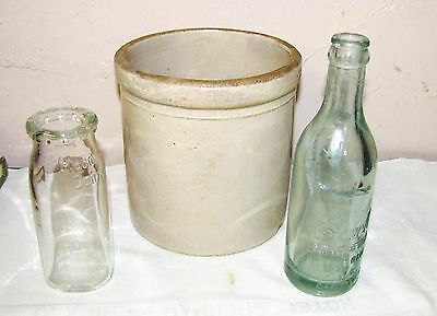 Macomb, Il.--3 Collectable Pieces--Crock, Milk Bottle, Soda Bottle