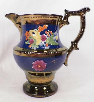 Antique Copper Luster Pitcher Hand Painted Flowers Colorful Soft Paste A Beauty