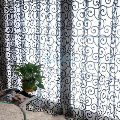 1 Piece Flocking Sheer Window Curtain Grommet Tulle Voile Drape Divider Panel