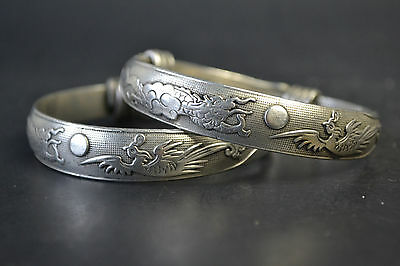 Collectible China Handwork Old Tibet Silver Dragon Phoenix Theme Bracelet