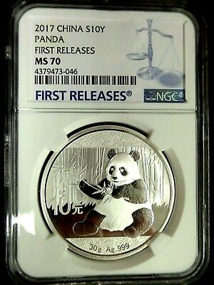 China 2017 Panda Silver NGC MS70 First Releases Perfect 10 Yuan Scarce