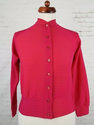 Vtg Ladies 60s / 70s Unworn Pink Buttoned Ban-Lon Long Sleeve Top Mod 10/12 EK04