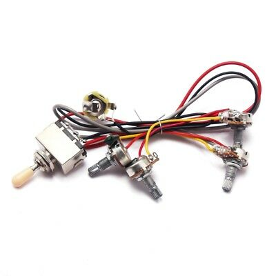 1Set Wiring Harness Toggle Switch 2V2T Pots & Jack 3 Way For Les Paul LP Guitar