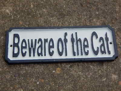 Large Cast Iron BEWARE OF THE CAT Antique Style House Garden Gate Plaque Sign