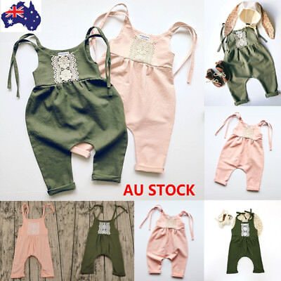 Kids Newborn Baby Toddler Girls Summer Sling Short Romper Lace Bodysuit Jumpsuit