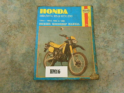 Honda Mtx 125 Haynes Manual     (Hm16)