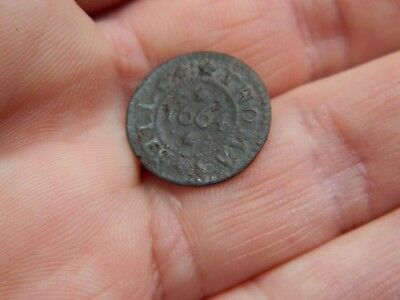 17th Century bronze traders token / coin Royston 1664 Metal detecting detector
