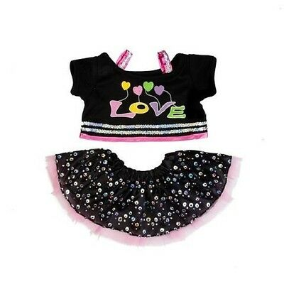 "Love sequinned sparkle outfit teddy bear clothes fits 15"" Build a Bear"