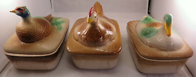 French Ceramic Figural Lidded Pate Dishes: Pheasant, Duck or Chicken